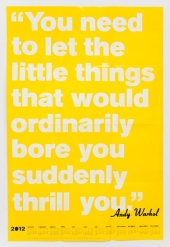 """You need to let the little things that would ordinarily bore you suddenly thrill you."" -Andy Warhol"